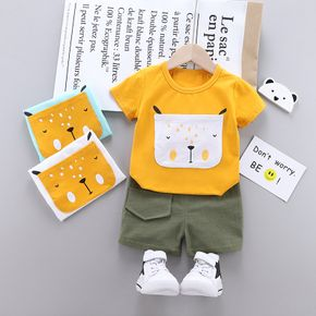 2pcs Baby Boy casual Animal Baby's Sets Bear Print Short-sleeve Cotton Space Print Baby Clothes