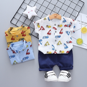 2pcs Baby Boy Vehicle Print Short-sleeve Cotton Baby Clothes