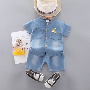2pcs Baby Boy Giraffe Cowboy Short-sleeve Top Solid Shorts Baby Sets