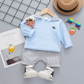 Baby 2pcs Dog Embroidered Lapel Collar Short-sleeve/ Long-sleeve Top and Striped Shorts Set