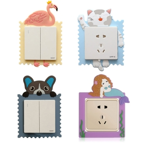Switch Paste Cartoon Creative Silica Gel Socket Protective Cover Wall Paste Luminous Stereo Household Switch Decor fit 86mm