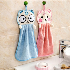 Cute Hanging Bathroom Hand Towel Bathroom Strong Absorbent Towel Rag Cartoon Hand Towel Handkerchief