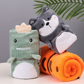 Cute Cartoon Comfortable Portable Animal Flannel Air Conditioning Blanket Napping Blanket