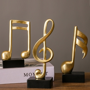 Home Decor Ornaments Modern Music Trophies Stave Musical Notes Piano Ornaments Child Room Gold Color Crafts Gifts