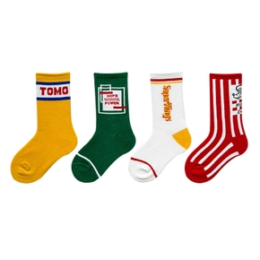 4-pack Multi Color Letter Athleisure Socks for Toddlers / Kids