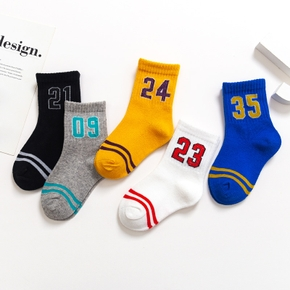5-pack Number Color block Athleisure Socks for Toddlers / Kids