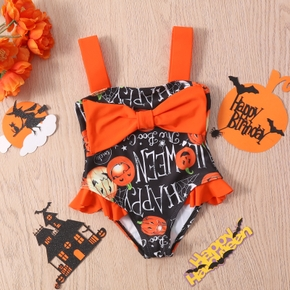 Halloween Pumpkin and Letter Print Bowknot Baby One Piece Swimsuit