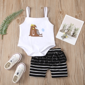 2pcs Baby Girl casual Sleeveless Romper Cotton Animal Baby's Sets
