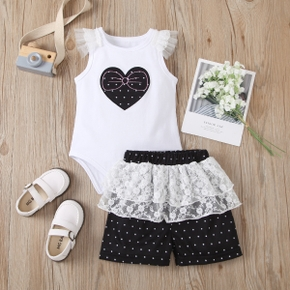 2pcs Baby Girl Sweet Heart-shaped Flutter-sleeve Cotton Romper Baby's Sets