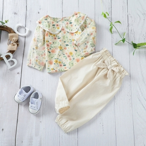 2pc Floral and Solid Long-sleeve Baby Set