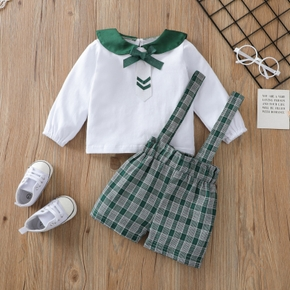 2pcs Baby Unisex Cotton Long-sleeve Solid Naval Top Strappy Stripe Pants Sets