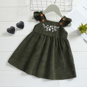 Floral Embroidery Flutter-sleeve Dark Green Baby Dress
