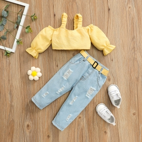Baby 2pcs Yellow Plaid Cold Shoulder Long-sleeve Crop Top and Belted Ripped Jeans Set