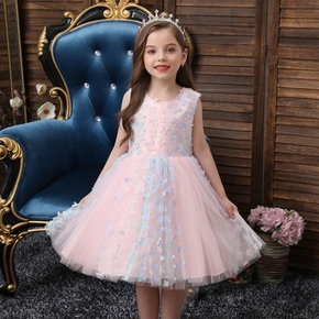 Baby / Toddler Floral Mesh Sleeveless Party Dress