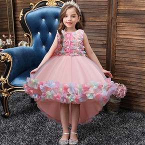 Kid Girl Floral Embroidered Bowknot Design Sleeveless Princess Party Wedding High Low Tulle Dress