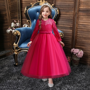 Kid Girl Bowknot Design Lace Mesh Long-sleeve Princess Costume Party Tulle Dress