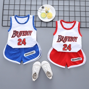 2pcs Baby Boy Letter Cotton Sleeveless Summer Solid Shorts Baby Sets