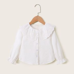 Toddler Girl Solid Hollow out Doll Collar Ruffled Long-sleeve Shirt