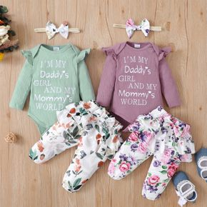Baby 3pcs Letter Print Long-sleeve Ribbed Romper and Floral Layered Skirted Trouser Set