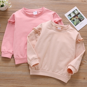 Toddler Girl Ruffled Casual Solid Pullover Sweatshirt