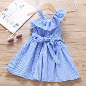 Toddler Girl Stripe Ruffle Collar One Shoulder Strappy Dress with Belt