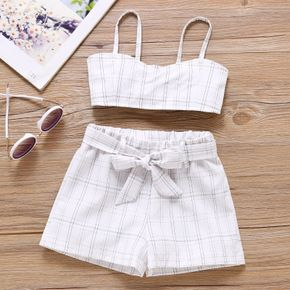 2-piece Toddler Girl Ruffled Plaid Tank Top and Elasticized Shorts with Belt Set
