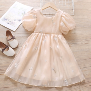 Toddler Girl Square Neck Puff-sleeve Flower Embroidery Princess Costume Party Dress