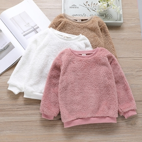 Toddler Girl Round-collar Casual Solid Fuzzy Pullover Sweater
