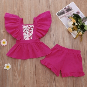 2pcs Lace Embroidery Flutter-sleeve Baby Sets