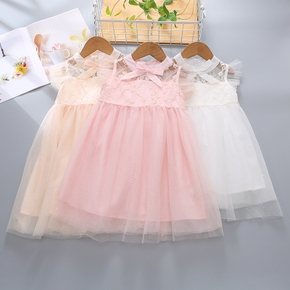 1pc Baby Girl solid Sleeveless  Print Summer More Festivals Dress