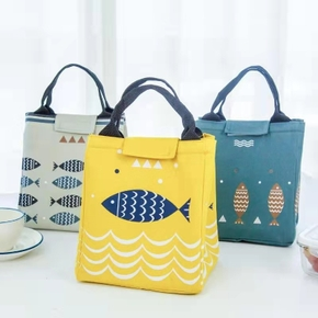 Waterproof Canvas Portable Lunch Bag Packed Lunch Board Picnic Storage Portable Outdoors Cooler Box Rice Bag
