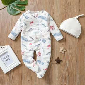 Baby 2pcs Octopus Print White Long-sleeve Footed Jumpsuit Set