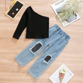 2-piece Toddler Girl One Shoulder Black Top and Mesh Ripped Jeans Denim Pants Set