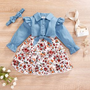 Baby 3pcs Blue Button Down Long-sleeve Top and Floral Print Layered Skirt Set