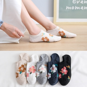 Summer New Casual Small Flower Multi-short Socks Ladies Cute Cotton Comfortable Shallow Mouth Invisible Socks