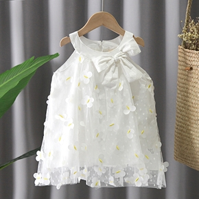 Toddler Girl Vivid Butterfly Embroidery Bowknot Decor Zipper Sleeveless Princess Costume Party Tulle Dress