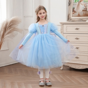 Kid Girl Sequined Gem Snow Glittery Design Square Neck Princess Party Tulle Dress