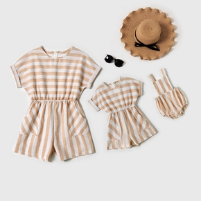 Stripe Splice Print Matching Rompers for Mom and Me(Tank Rompers for Baby)