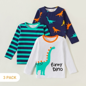 3-piece Toddler Dinosaur Striped Long-sleeve Tee
