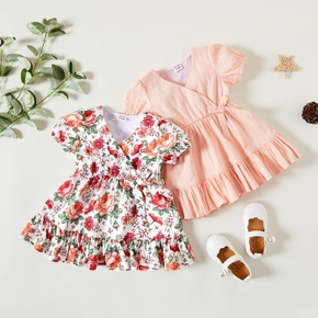 1pc Baby Girl Short-sleeve Floral Print Cotton & Polyester Flounced Dress
