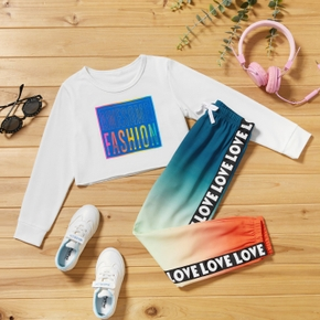 2-piece Kid Girl Letter Print Colorblock Long-sleeve Top and Gradient Pants Casual Set