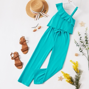 Kid Girl Solid Faux-two One Shoulder Sleeveless Strap Jumpsuit with Belt