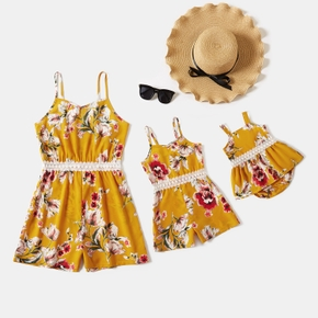 Floral Print Matching Yellow Sling Shorts Rompers