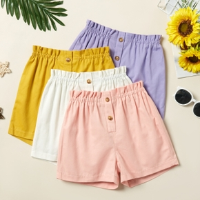 Kid Girl Elasticized Solid Casual Shorts