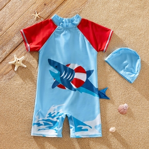 Kids Boy Shark Print Tee and Shorts Swimsuit Set