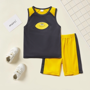 Rugby Print Tank Top and Shorts Color block Athleisure Set for Toddlers/Kids
