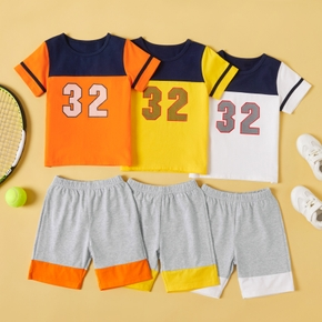 Color Block Number Print Tee and Shorts Athleisure Set for Toddlers / Kids