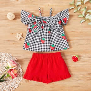 2-piece Toddler Girl Strawberry Print Plaid Bow Decor Strappy Flutter-sleeve Top and 100% Cotton Elasticized Solid Shorts Set