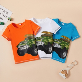 Kid Boy Truck Print Casual Short-sleeve Tee