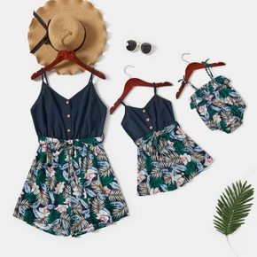 Solid Stitching Floral Print Matching Navy Sling Shorts Rompers